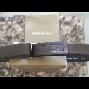 Emporio Armani Men's Black Leather Belt Size 36